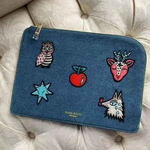Handbags - Nina Ricci denim embroider iPad case
